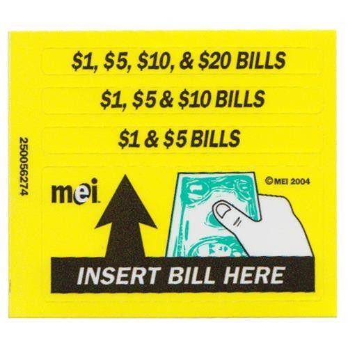 Mars Bill Validator Replacement Decal Sticker 250056274