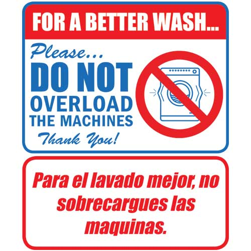 Clothes Wash Signs: Bilingual Wash Overload Laundry Sign